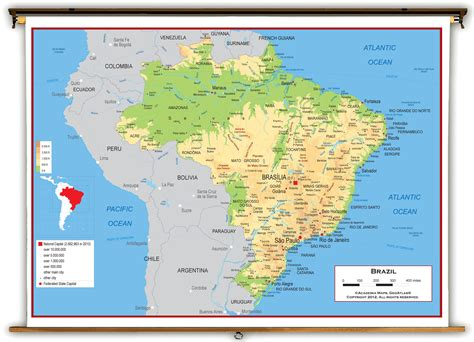 brazil physical map brazil physcial educational wall map from academia maps