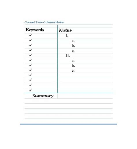 cornell notes templates examples word  template lab