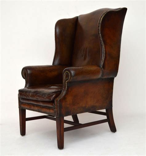 wingback chair uk antique distressed leather wing back armchair 288998