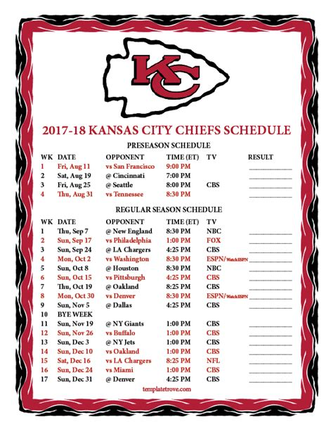 2018 printable kansas city royals schedule printable 2017 2018 kansas city chiefs schedule