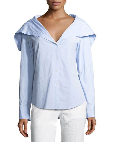 Blue Sailor Wide Collar Blouse theory doherty wide collar shirt neiman