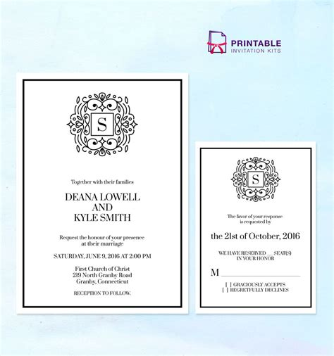 free printable wedding invitation monogram stately monogram wedding invitation templates with rsvp