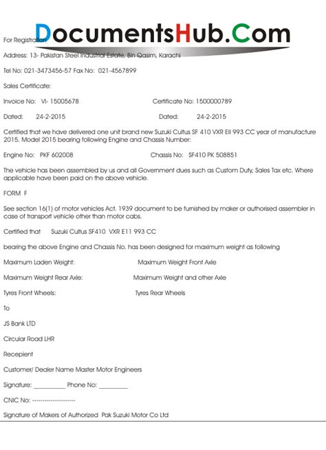 Transfer Letter Of Vehicle In Karachi Cover Letter Authorized Dealer Certificate Format