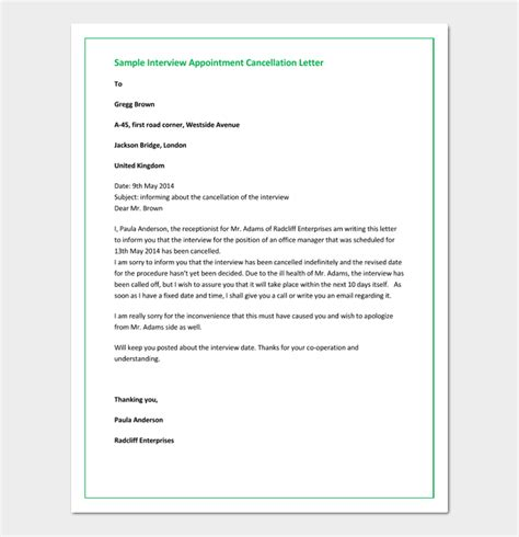 cancellation of visit letter appointment cancellation letter 15 sle letters