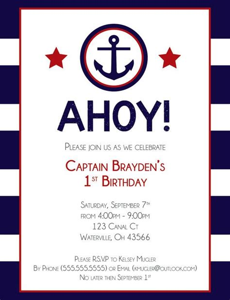 printable nautical invitation template nautical birthday invitations templates ideas all