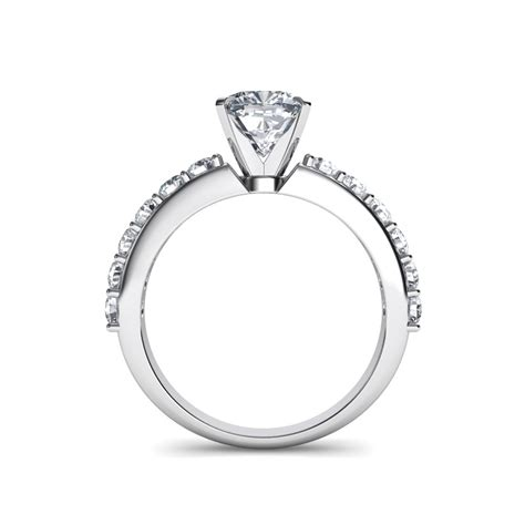 cushion cut vintage style engagement rings shared prong vintage style cushion cut engagement ring