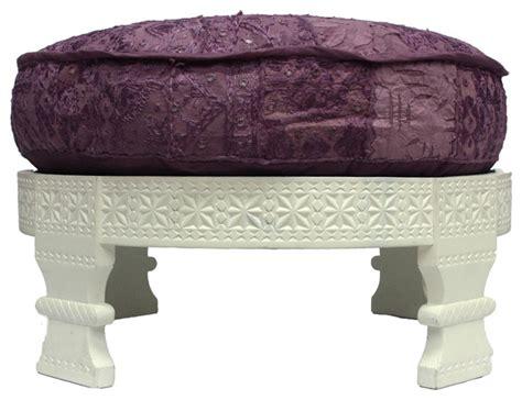 Handmade Ottomans - handmade chakki white finish plum ottoman contemporary