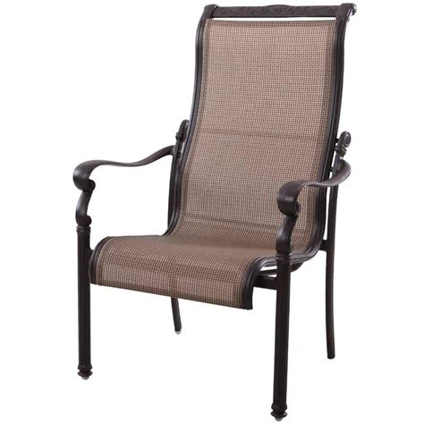 Sling Patio Chair Patio Furniture Aluminum Sling Chairs Dining High Back Set 2 Monterey