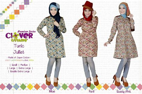 Fw1348 Bahan Jersey M Dress muslimina fashion tunik rok clover clothing