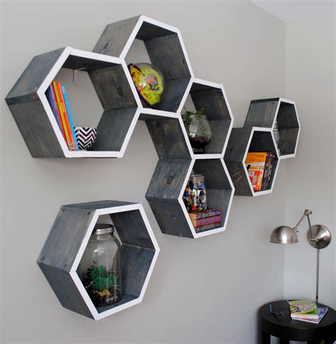 diy wood honeycomb shelves burger
