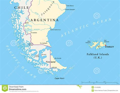 falkland islands on map falkland islands policikal map stock vector image 41445995