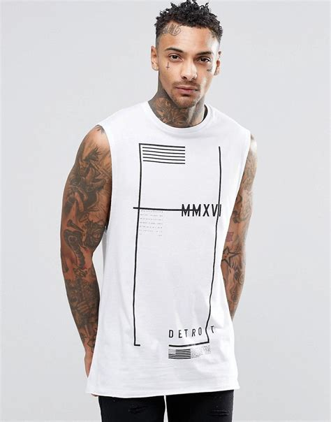 Sleeveless Print T Shirt image 1 of asos longline sleeveless t shirt with flag