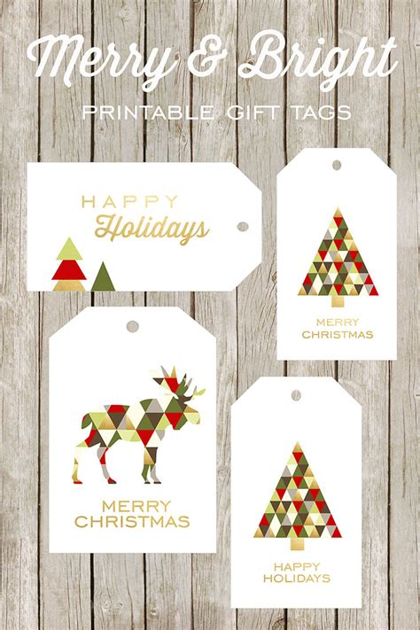 merry  bright printable gift tags