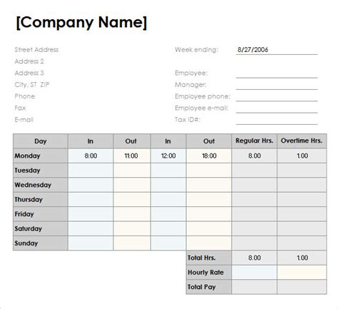 10 Weekly Timesheet Templates Sle Templates Daily Timesheet Template Xls