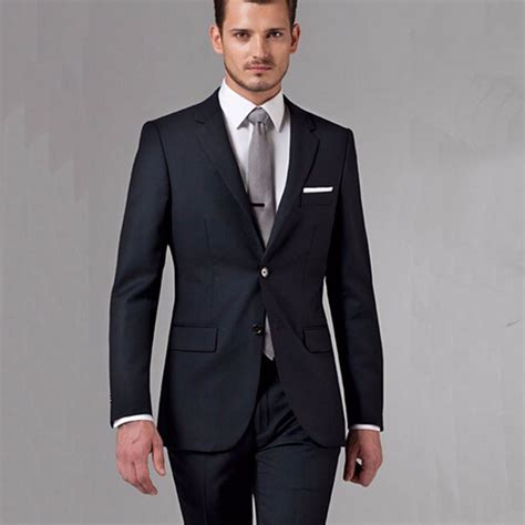 Handmade Mens Suits - black business suits custom made bespoke classic