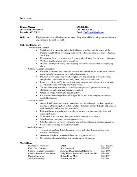 medical secretary resume objective exles north