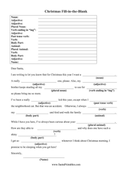 printable christmas fill in the blank games christmas fill in the blank
