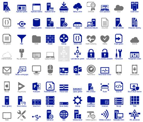 microsoft cloud and enterprise symbol icon set design elements azure architecture enterprise