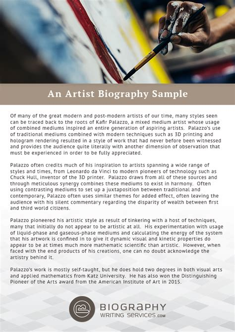 artist biography essay write a biography on yourself