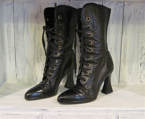 vintage chanel boots for black leather