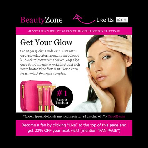Beauty Product Selling Html Facebook Fan Page Design Template Product Selling Website Template
