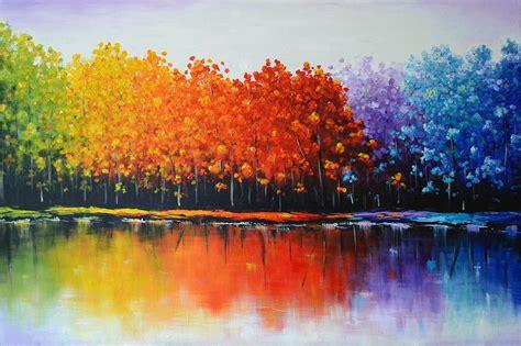 rainbow trees rainbow trees painting by zarema mamedova