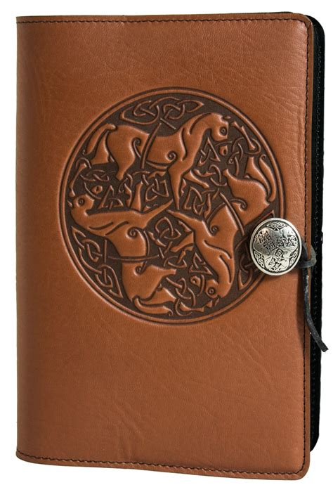 celtic design leather journal leather journal cover diary celtic horse oberon design