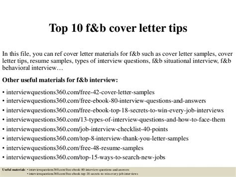 top 10 f b cover letter tips