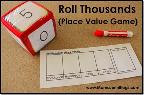 printable math games on place value printable place value games roll hundreds roll thousands