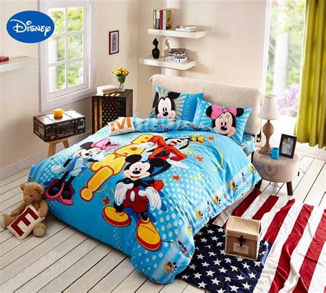 Cartoon Disney Print Bedding Set Cotton Blue Polka Dot Mickey And Minnie Bed Set