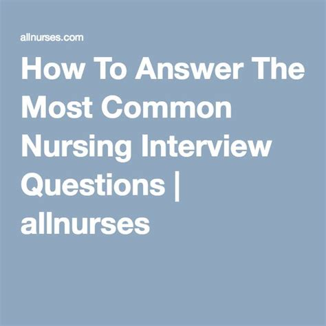 how to answer the most common nursing questions