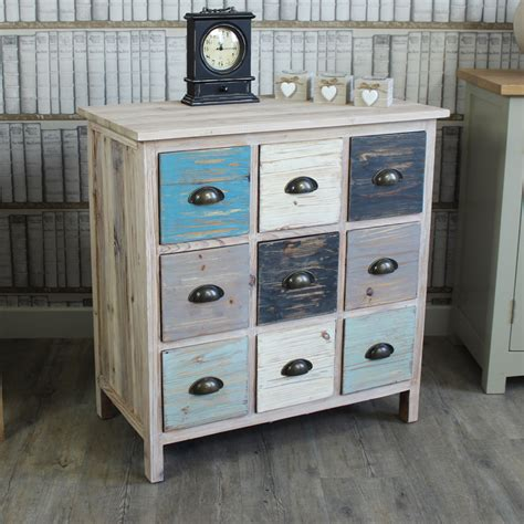 Wood Chest Drawers by Blue Wooden 9 Drawer Chest Drawers Shabby Vintage Chic