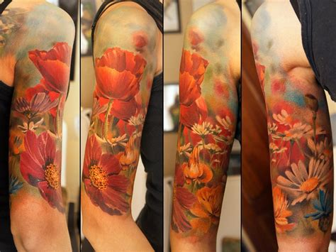 tattoo flower half sleeves colorful half sleeve flowers tattoo andrey barkov the