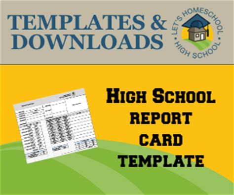 homeschool high school report card template free highschool report card templates
