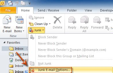 how to disable junk mail filter in outlook?