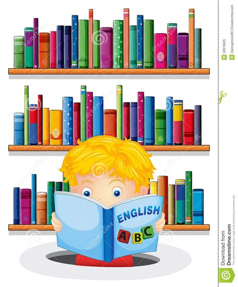 imagenes english book a boy in the library reading an english book royalty free
