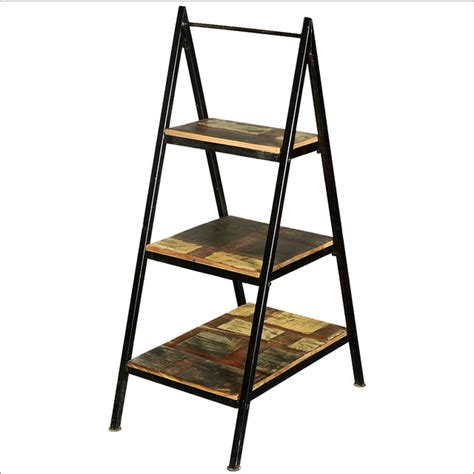 Rustic Ladder Bookcase A Frame Iron Ladder Open Display Shelves Reclaimed Wood Furniture Rustic Bookcases San