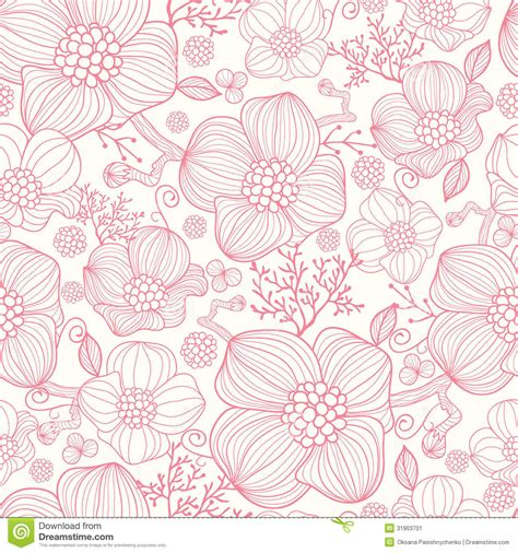 flower pattern line vector red line art flowers seamless pattern background stock