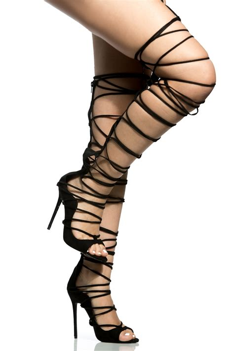 thigh high tie up heels black faux suede lace up thigh high stiletto heels