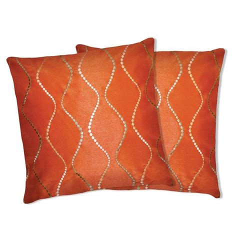 lush decor orange swirl decorative pillows set of 2