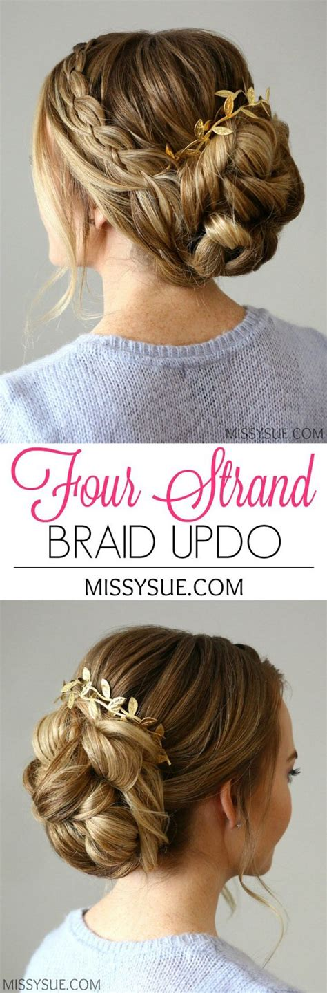 casual hairstyles for graduation four strand braids updo and strands on pinterest