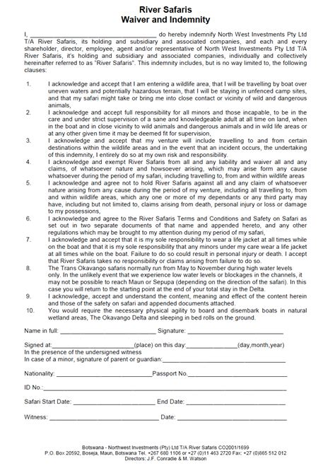 free indemnity form template indemnity form free printable documents sport indemnity