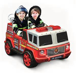 kid motorz fire engine 2 seater 12 volt ride on in red