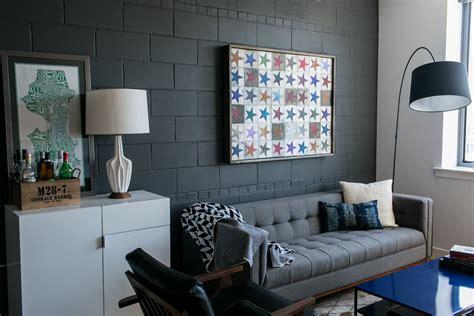 Pretty Cinder Blocks look Dc Metro Industrial Living Room