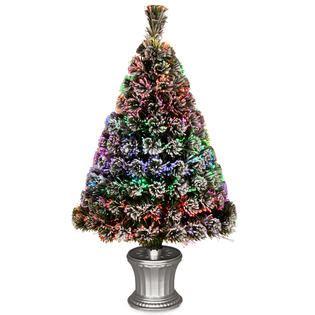 fibre optic xmas trees kmart national tree company 3ft fiber optic quot evergreen quot flocked tree seasonal trees