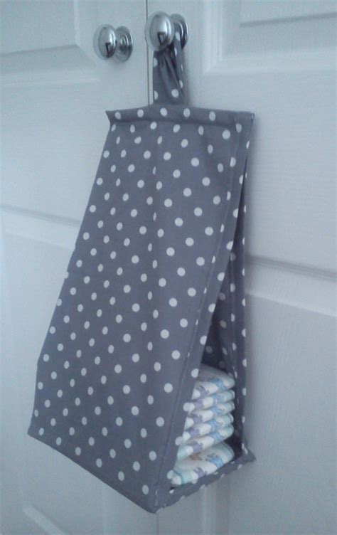 space saving nappy stacker grey and white polka dot
