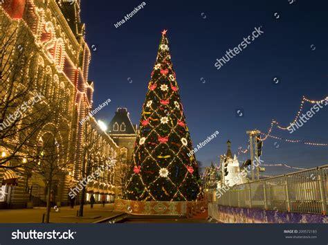 nearby christmas tree moscow december 27 2013 tree stock photo 209572183