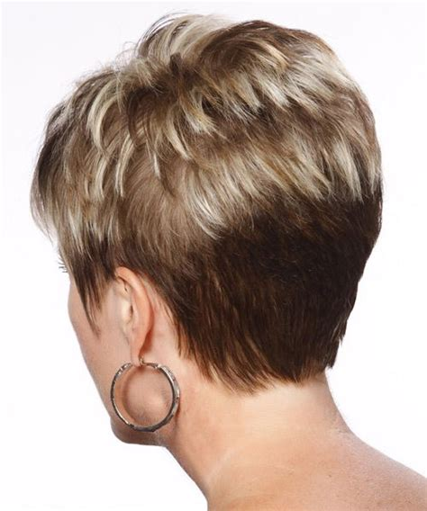 front and back views of chopped hair short styles back view formal short straight hairstyle