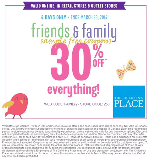 Childrens Place Coupons In Store Printable