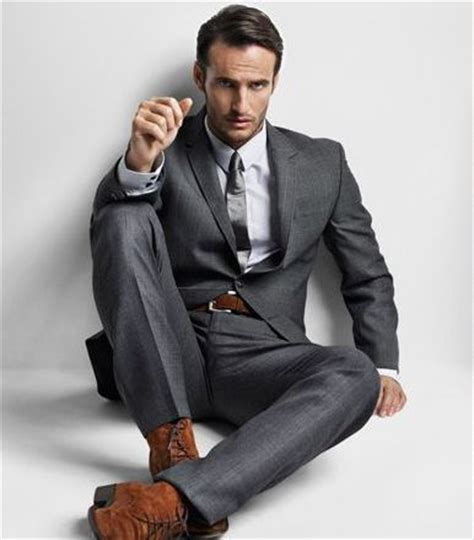 brown suede boots and belt with gray suit s fashion